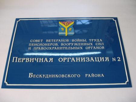 информационные таблички уличные Первичная организация №2